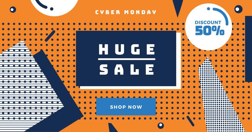 Cyber monday sale poster Facebook Ad 1200x628px template \u2014 Design