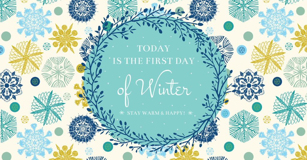 Today is first day of winter lettering Facebook Ad 1200x628px