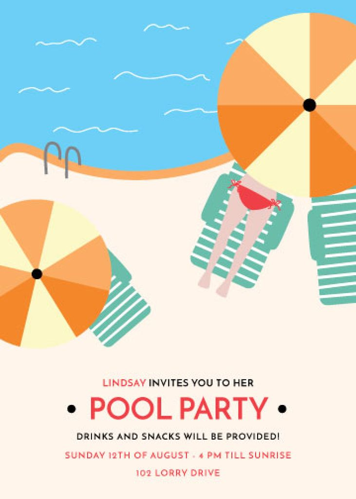 Pool party invitation Flyer 5x7in template \u2014 Design Online \u2014 Crello