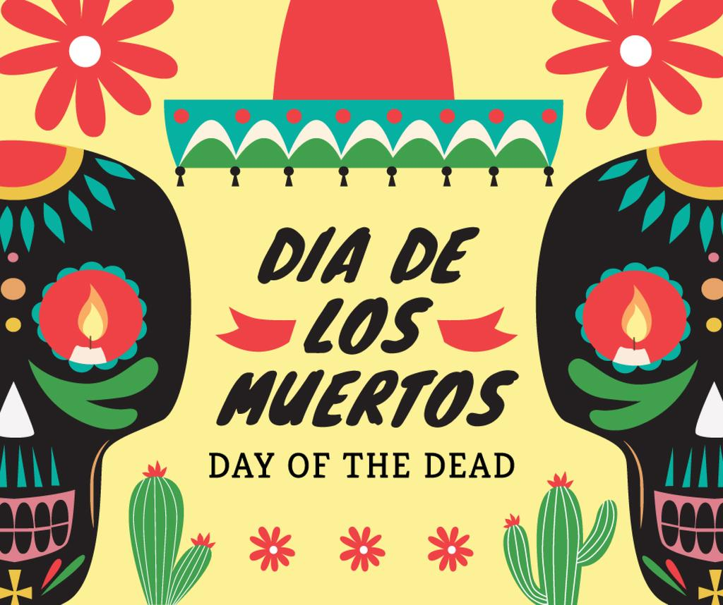 Day of the dead poster Facebook post 940x788px template \u2014 Design