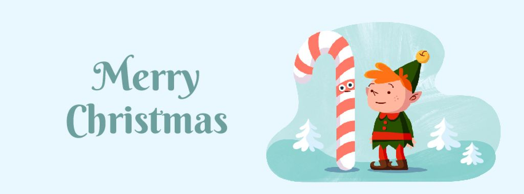 Christmas elf with candy cane Facebook Video cover 851x315px