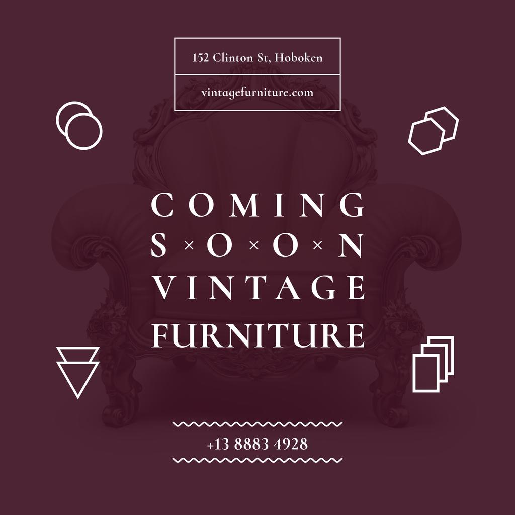 Design Online Shop Coming Soon Vintage Furniture Shop Instagram Post 1080x1080px