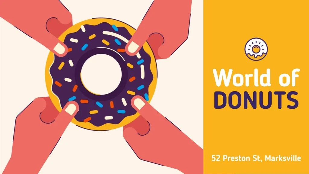 People pulling sweet donut Full HD video 1920x1080px template