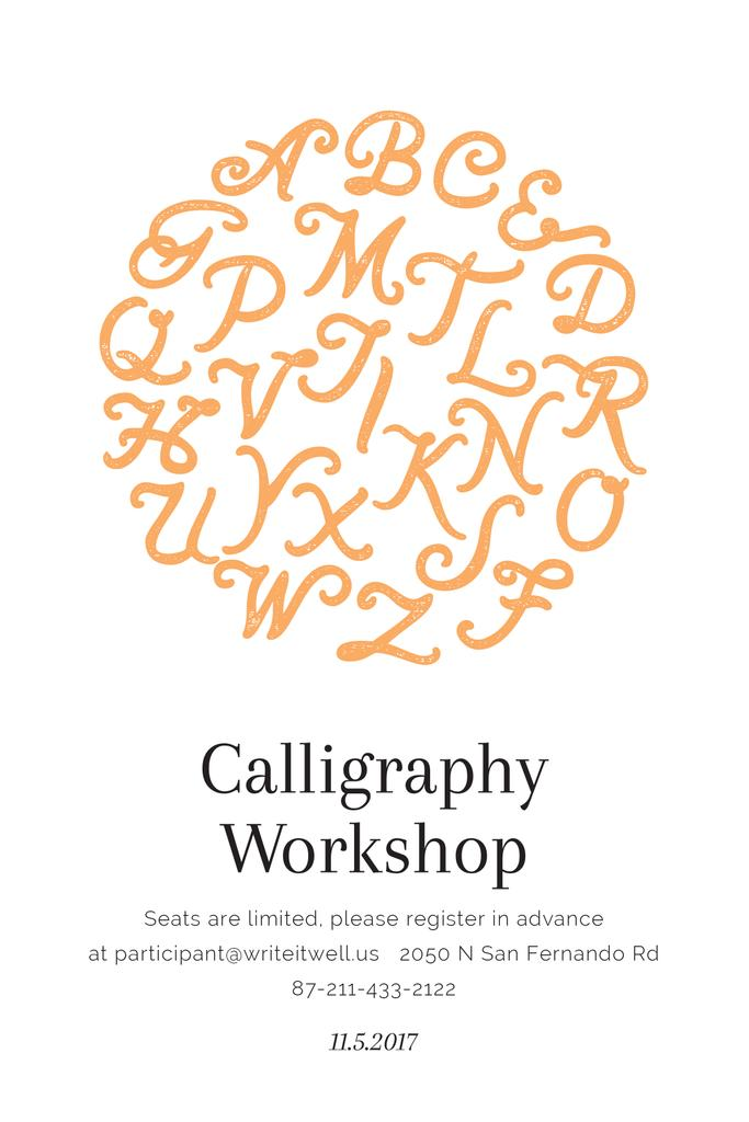 Calligraphy For Beginners Online Calligraphy Workshop Poster Tumblr Graphic 540x810px Template