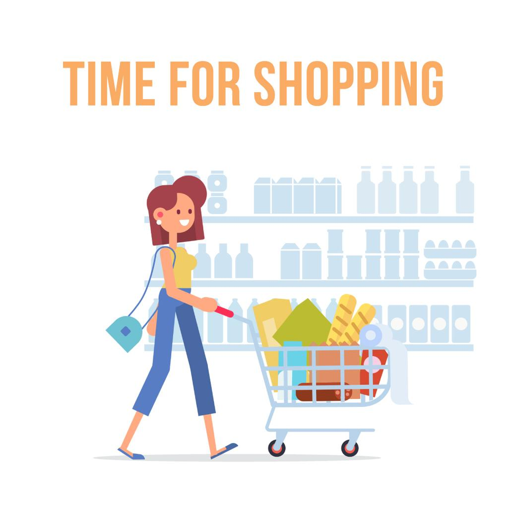 Design Online Shop Woman Pushing Shopping Cart Animated Post 1080x1080px Template