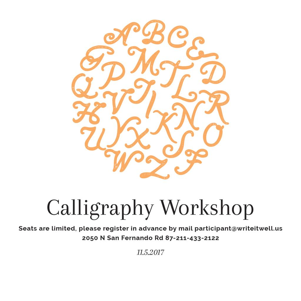 Calligraphy Online Calligraphy Workshop Poster Instagram Post 1080x1080px Template