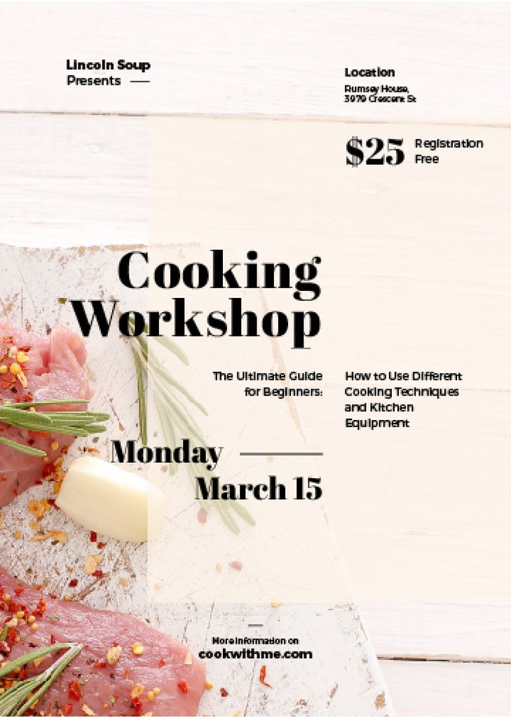 cooking workshop advertisement poster Invitation 5x7in template