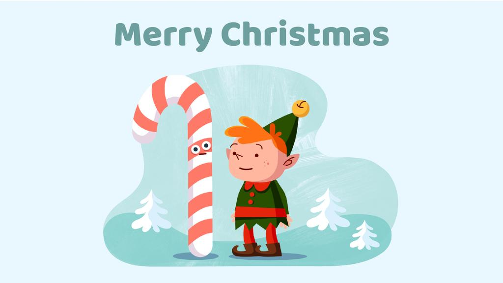 Christmas elf with candy cane Full HD video 1920x1080px template