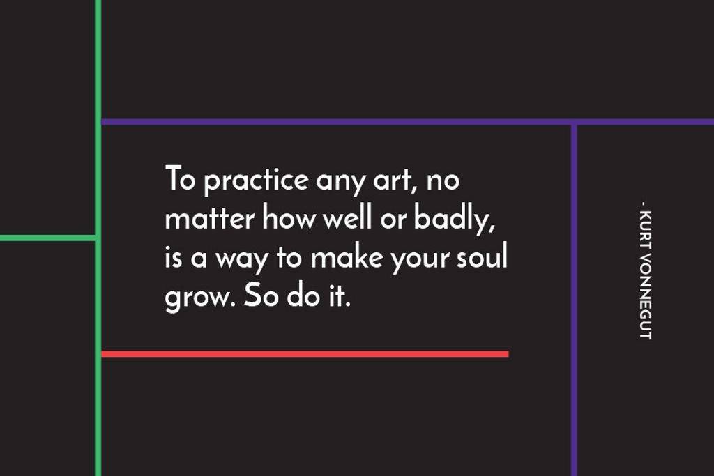 Citation about practice to any art Gift certificate 6x4in template