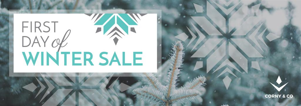 first day of winter sale banner Tumblr banner 3000x1055px template