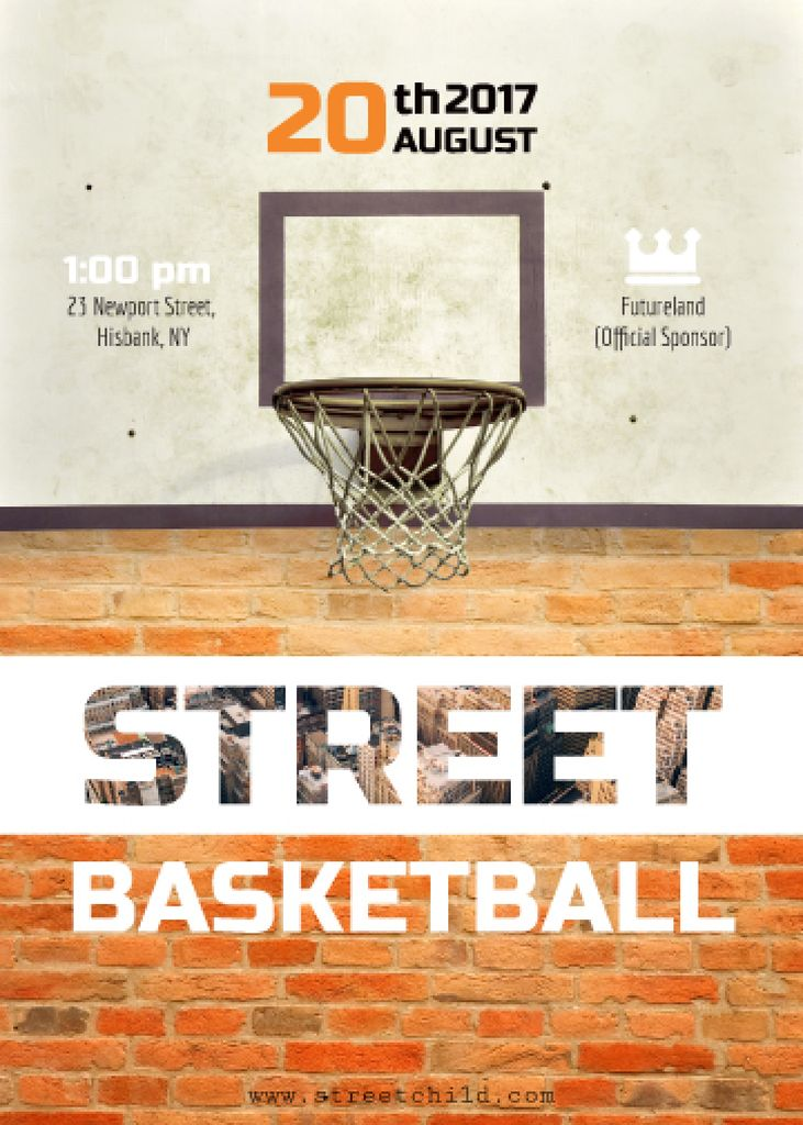 Street basketball match announcement Flyer 5x7in template \u2014 Design