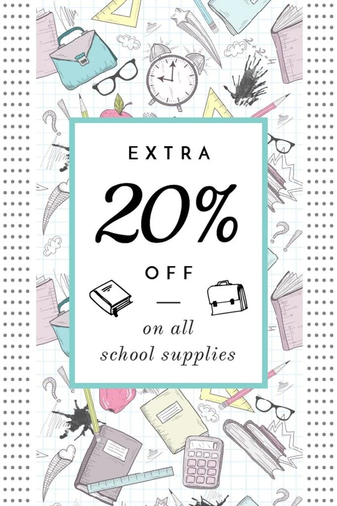 School supplies sale advertisement Tumblr graphic 540x810px template