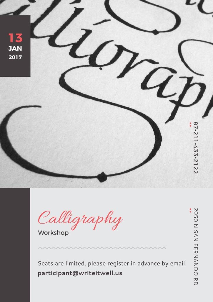 Calligraphy Online Calligraphy Workshop Poster Poster 42x59 4сm Template Design