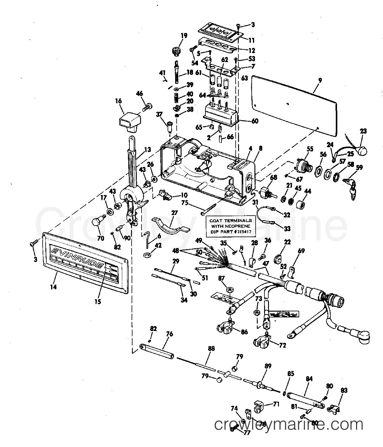 1970 evinrude Schaltplang for shifter