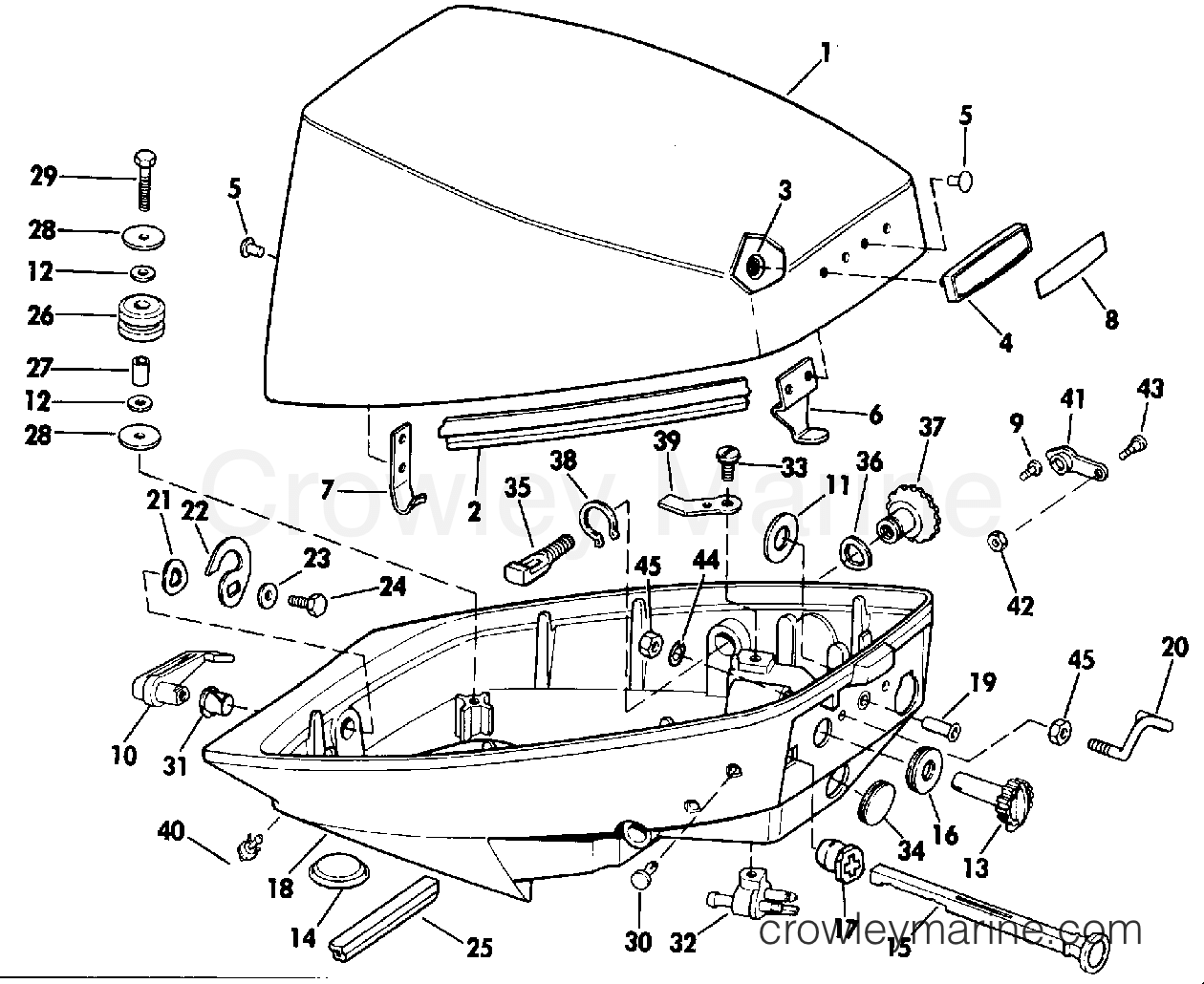 j15rcrm johnson outboard engine cover evinrude diagram and parts
