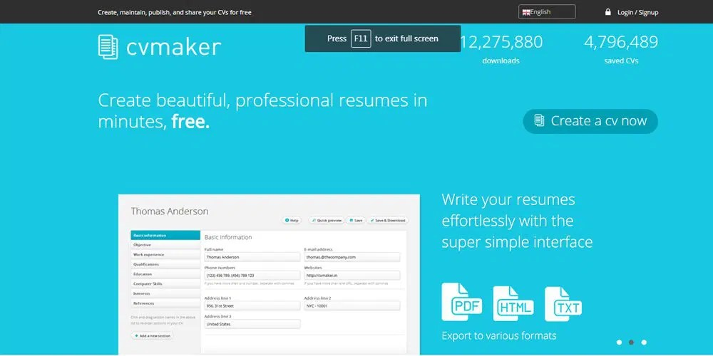 Best Professional Online Resume Builders » CSS Author - how to make a cv free