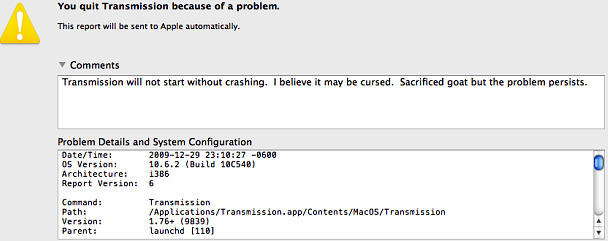 Pic of the Day, Problem Report Tried Voodoo, Bug Still Persists