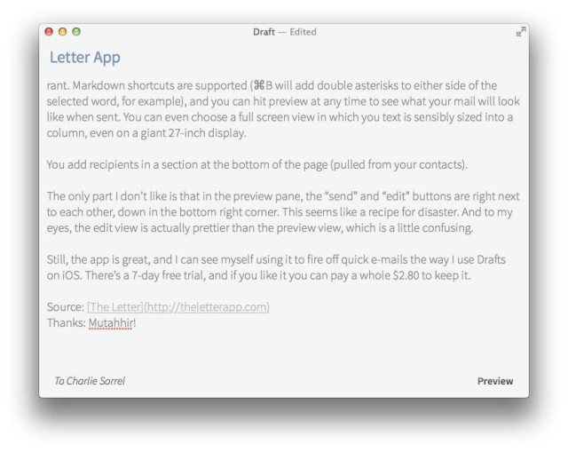 Letter, A Beautiful Markdown App Just For Writing Emails Cult of Mac