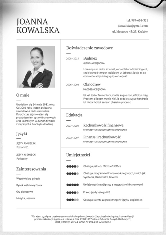curriculum vitae szablon - Intoanysearch