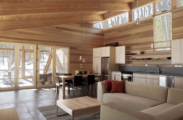 Wooden Sala Set For Small Space Compact One-room Cabin In Massachusetts Is Impressive
