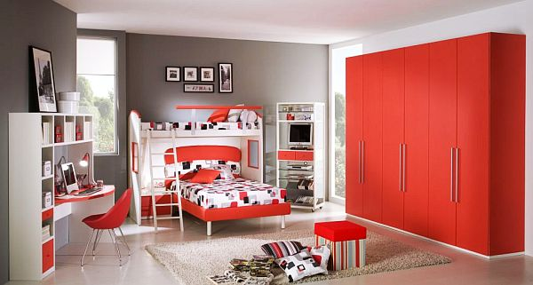 Fiery and Fascinating 25 Kidsu0027 Bedrooms Wrapped in Shades of Red - deco salon rouge et blanc