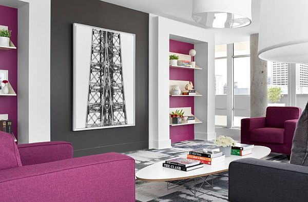 How To Decorate With Purple in Dynamic Ways - purple and grey living room