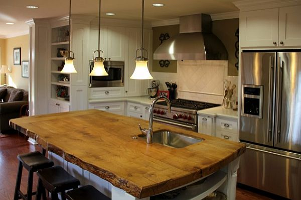 Wood Island Tops Kitchens Kitchen Island Solid Wood Countertop - Decoist