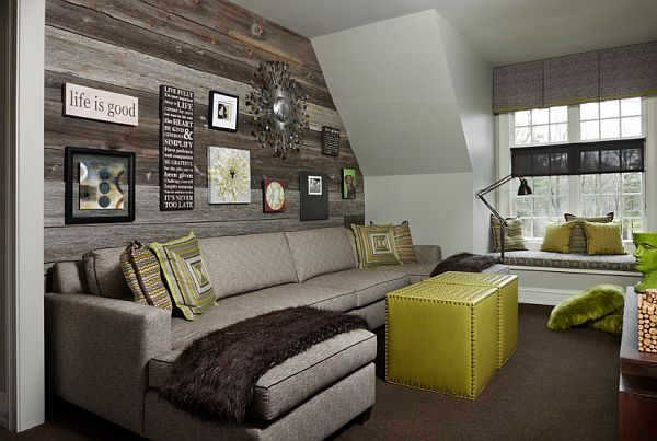 Wood Wall Living Room Wall Accents With Industrial Desk Lamps - wood wall living room