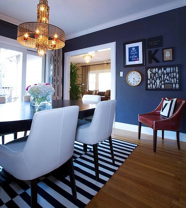 Rug Under Kitchen Table Dining Out In Your New Navy Blue Dining Room