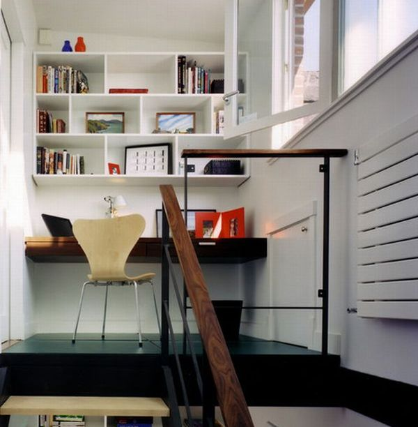 staircase landing transformed inviting home office organized interior design office space peltier interiors