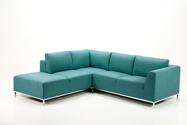 green leather sectional sofa
