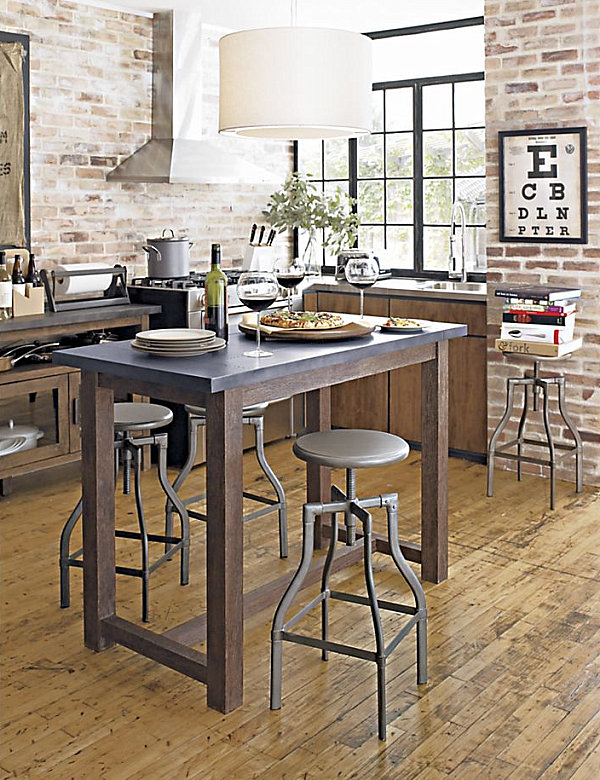 table chairs polished shiny metal legs industrial kitchen style industrial chic decor furniture industrial