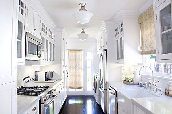 traditional white themed galley kitchen white wooden galley kitchen small marble top kitchen island
