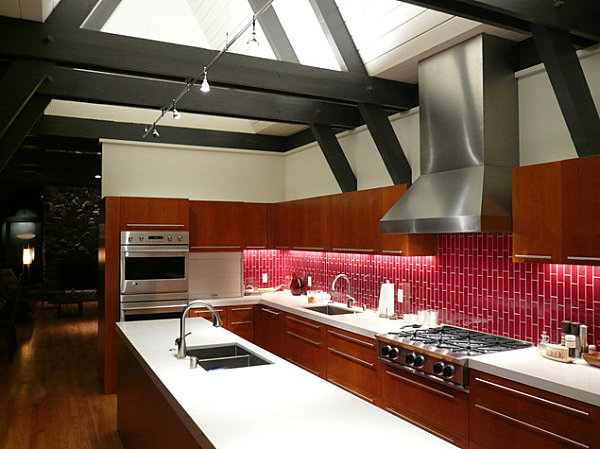 decorate shades red subway mosaic red glass kitchen backsplash tile traditional kitchen