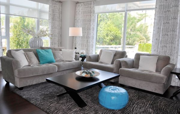 Decorating With Turquoise Colors of Nature \ Aqua Exoticness - grey and turquoise living room