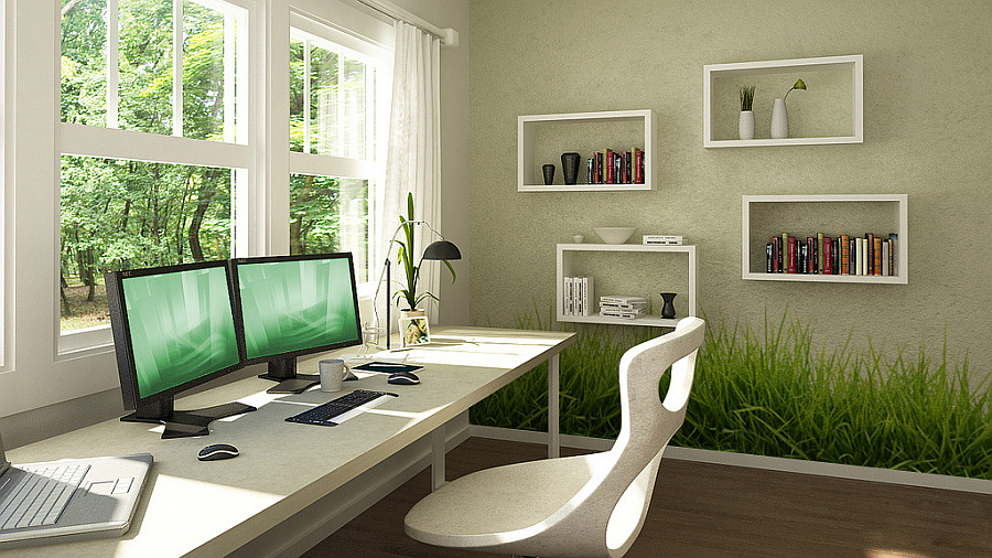 home office green grassy wall stickers home store office decor excellence office decor wall sticker
