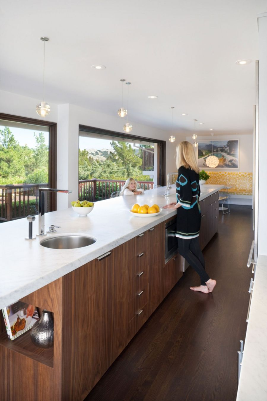 Kitchen With Table Island Remodeled Kitchen And Breezy Interiors Light Up The Moraga