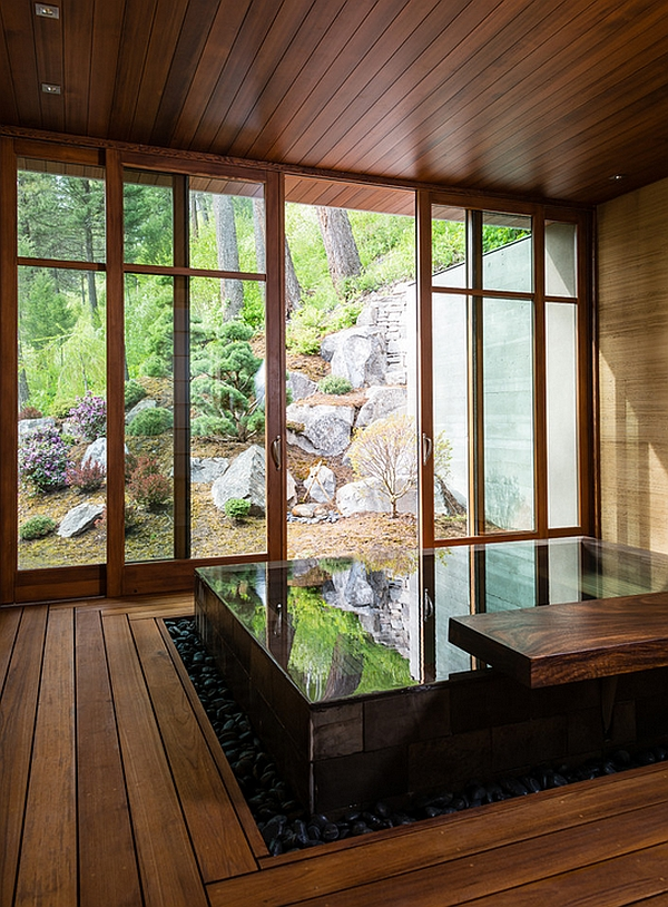 Open Concept Bathroom Japanese Design-inspired Pool House And Spa Showcases