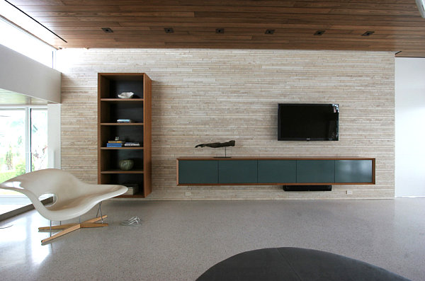 modern living room style with floating media console