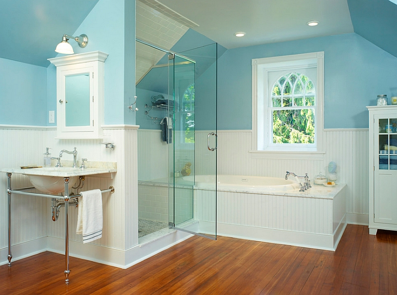 Bathroom Wainscoting Height Blue And White Interiors: Living Rooms, Kitchens, Bedrooms