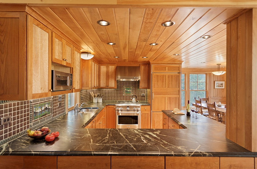 Modern Backsplash Tile Cozy Cabin Retreat Combines Warmth Of Wood With A Bright
