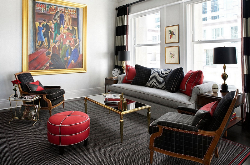 Red, Black And White Interiors Living Rooms, Kitchens, Bedrooms - grey and red living room