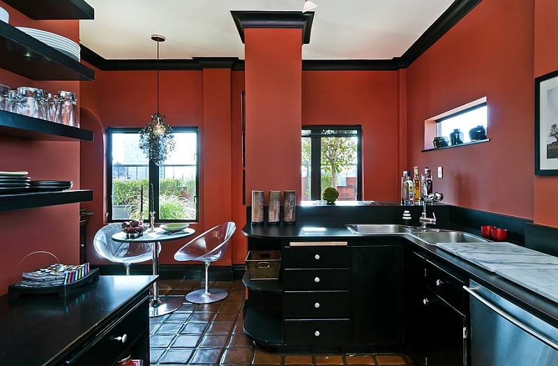 Weinrote Kueche Welche Wandfarbe Red, Black And White Interiors: Living Rooms, Kitchens