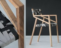 Trendy Minimalist Wood Chair Wrapped In Multicolored ...