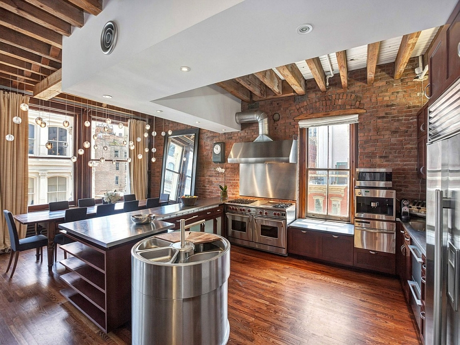 cozy york city loft enthralls eclectic interior wrapped leatherette brushed stainless steel modern armchairs accent chairs