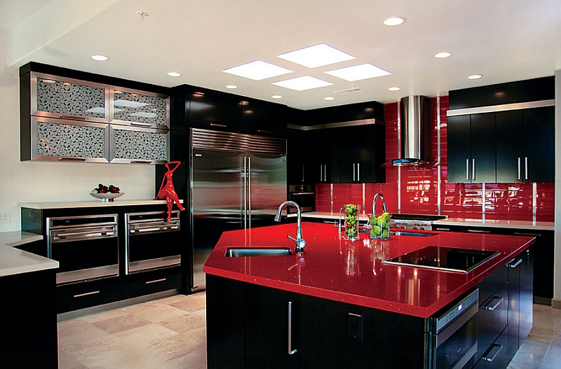Red And Black Kitchen Red, Black And White Interiors: Living Rooms, Kitchens