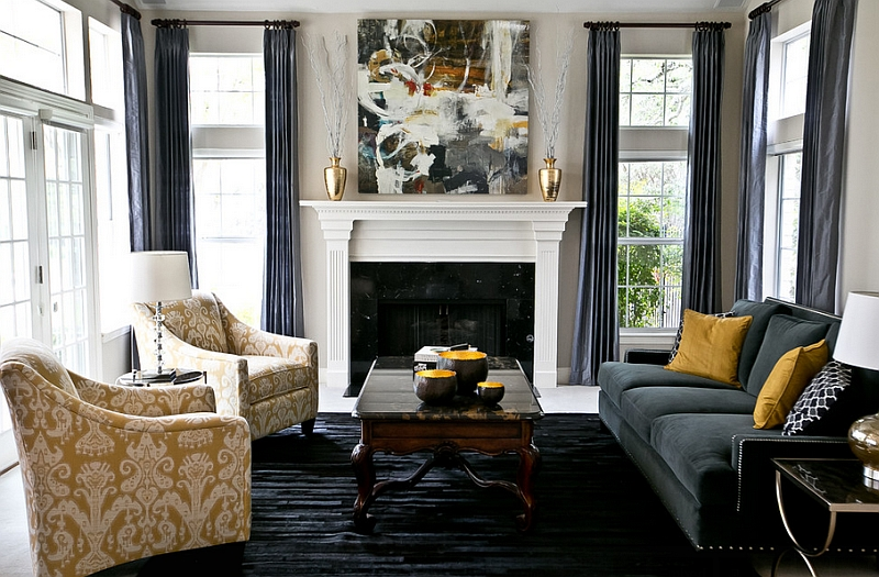 Gray And Yellow Living Rooms Photos, Ideas And Inspirations - gray and gold living room