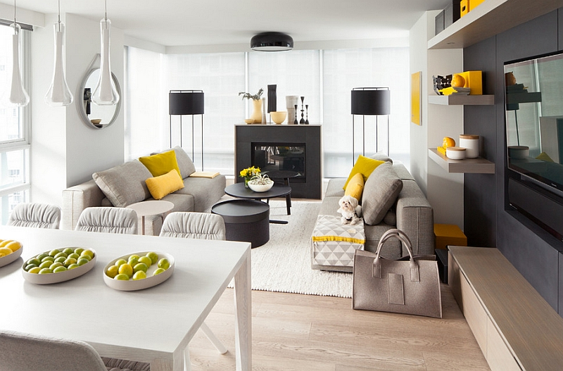Gray And Yellow Living Rooms Photos, Ideas And Inspirations - yellow and grey living room