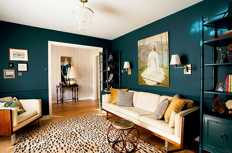 Teal Accent Wall Design Ideas, with Grey to anchor and Citron