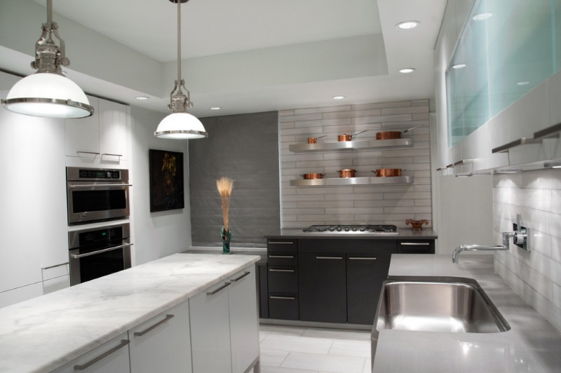 Black White And Silver Striped Wallpaper Add Sleek Shine To Your Kitchen With Stainless Steel Shelves
